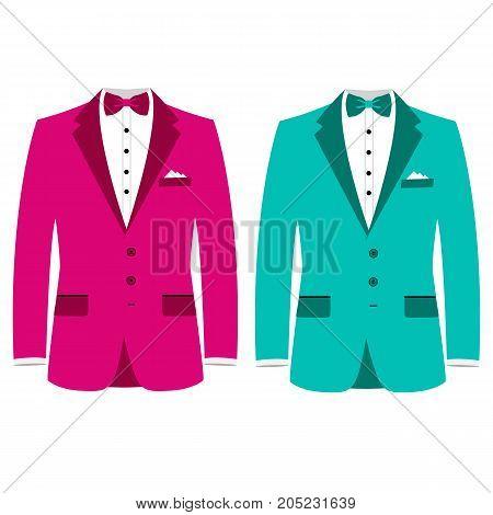 Men's jacket. Wedding men's suit tuxedo. Vector illustration