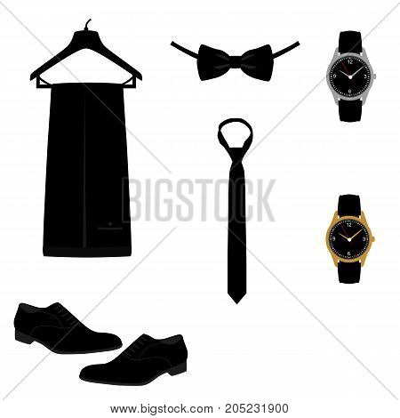 Wedding man's set. Men's Accessories. Flat design. Vector illustration.