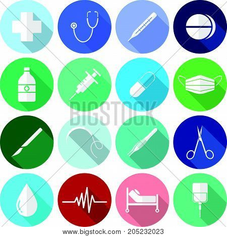 Vector Easy-To-Use 16 White Medical Flat Icons In Front Of Colorful Circles On White Background Categorized Into Four Groups Check up Pharmaceutical Surgery And Healing.
