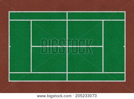 Tennis field. Tennis green court. Top view. Isolated
