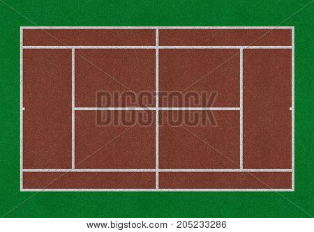 Tennis field. Tennis brown court. Top view. Isolated