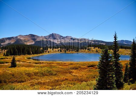 A blue lake in the Rocky Mountains of Colorado.