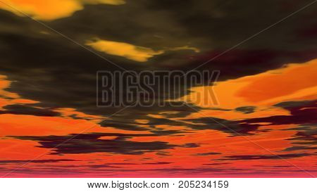 A 3D illustration of a cloudy sky.