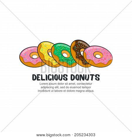 Template logo for delicious donuts isolated on white background