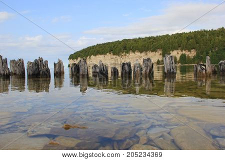 Remains of a dock at Fayette Historic State Park, Upper Peninsula of Michigan