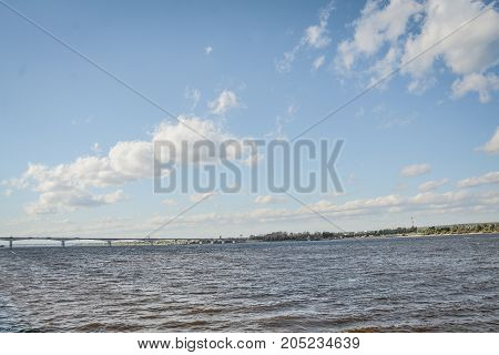 kama river landscape in the perm city, russia, ural
