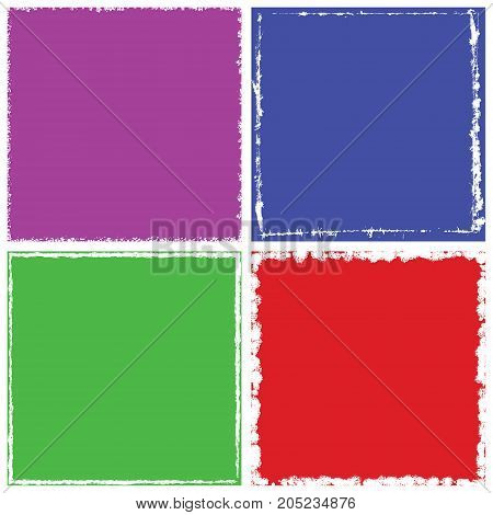 Color square shape distress overlay frame background set. Abstract Grunge dirty backdrop. Used aged border template. Shabby edge basis element. Retro cover aging design detail. EPS10 vector.