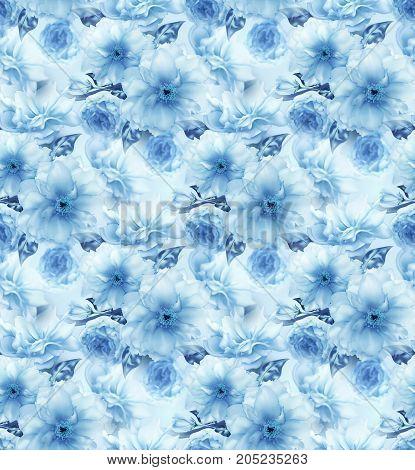 Blue cherry sakura flower floral blue digital art seamless pattern texture background