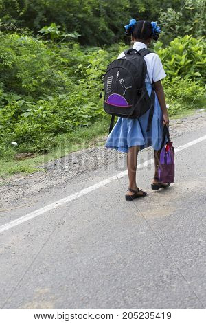 PONDICHERY PUDUCHERY INDIA - SEPTEMBER 04 2017. Unidentified children go to school with uniform dress