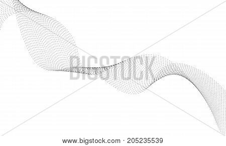 Abstract dots wave element for design. Digital frequency track equalizer. Stylized line art background. Vector. Wave with lines created using blend tool. Curved wavy line smooth stripe.
