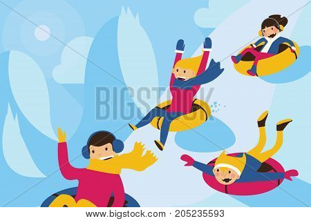 Vector illustration with lovely family tubing down the hill. Winter scene with sun shadows and happy smiling cartoon characters on tubes.