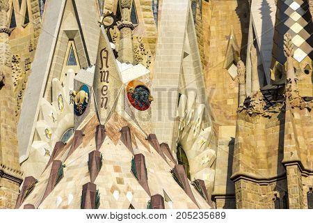Barcelona, Spain. September 2017: Sagrada Familia Detail