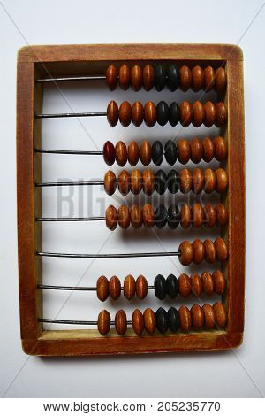 vintage wooden abacus for arithmetic calculations, retro