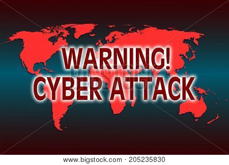 illustration with inscription warning cyber attack and world map