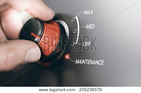 Electronics system switch. Hand turning knob to the maintenance position. Composite image between a hand photography and a 3D background.