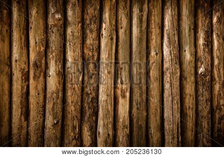 A log wall. Wooden wall from old logs