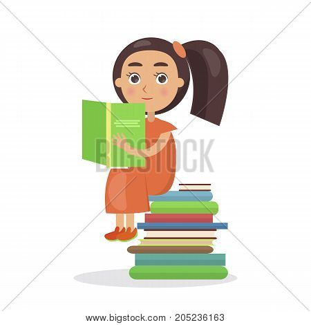 Girl in orange dress with open textbook sits on pile of books vector illustration in concept of International Literacy Day isolated on white
