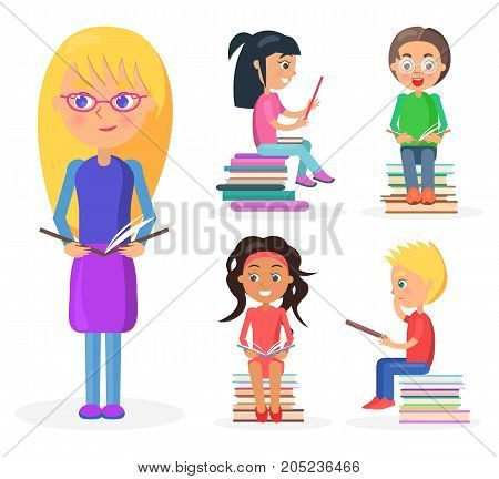 Blonde girl with glasses stands and holds dark book full-length, reading four schoolkids sit on pile of literature vector illustration.
