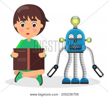 Boy sits and reads book beside small robot with lamps, visual indicators and lot of limbs isolated vector illustration on white background.