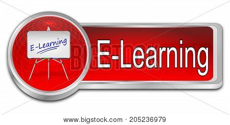 glossy red E-Learning Button - 3D illustration