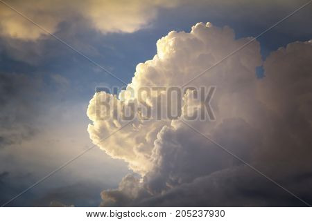 White fluffy and blue sky with clouds (Cumulus clouds)