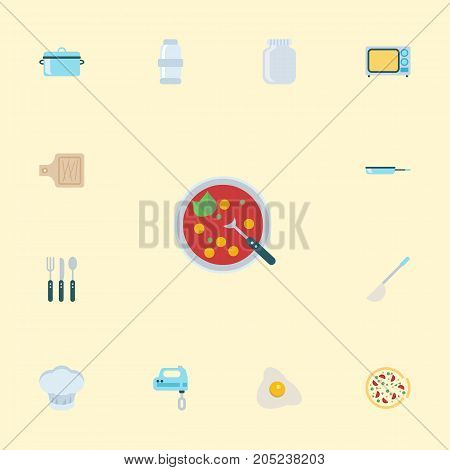 Flat Icons Silverware, Breadboard, Broth And Other Vector Elements