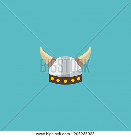 Flat Icon Barbarian Element. Vector Illustration Of Flat Icon Viking Helmet Isolated On Clean Background
