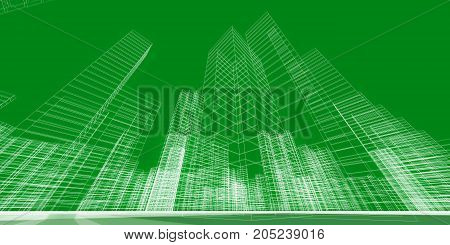 City concept. City construction building 3d rendering