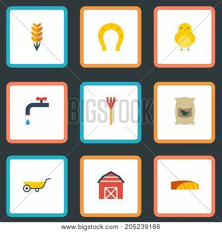 Set Of Harvest Flat Icons Symbols Also Includes Bird, Wheat, Charm Objects.  Flat Icons Grain, Field, Handcart Vector Elements.