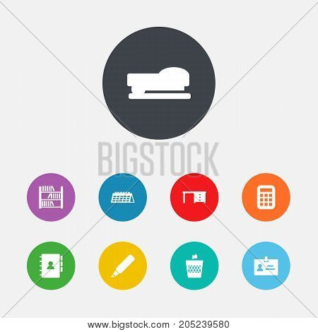 Collection Of Book, Desktop, Urn And Other Elements.  Set Of 9 Bureau Icons Set.