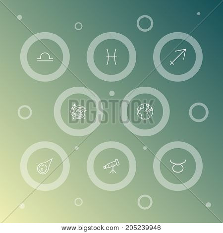 Collection Of Pisces, Libra, Asteroid And Other Elements.  Set Of 8 Astrology Outline Icons Set.