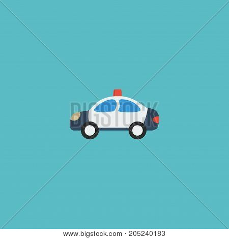 Flat Icon Cop Car Element. Vector Illustration Of Flat Icon Automobile Isolated On Clean Background