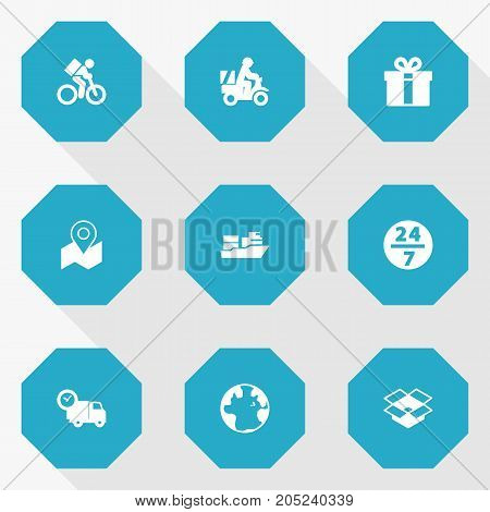 Collection Of Scooter, Pinpoint, Parcel And Other Elements.  Set Of 9 Delivery Icons Set.