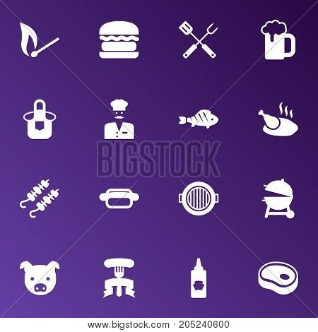 Collection Of Matchstick, Equipment, Fast Food And Other Elements.  Set Of 16 Picnic Icons Set.