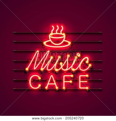 Neon music cafe text icon signboard on the red background. Vector illustration