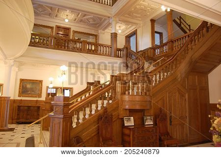THOUSAND ISLANDS, NY, USA - OCT. 17, 2009: Ground Staircase in Boldt Castle, Thousand Islands, New York State, USA.