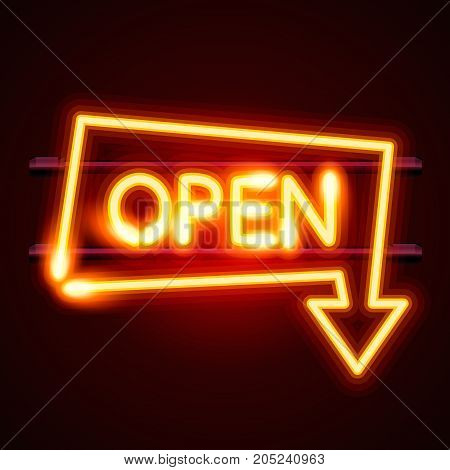 Neon sign with text open arrow, entrance is available. Vector illustration