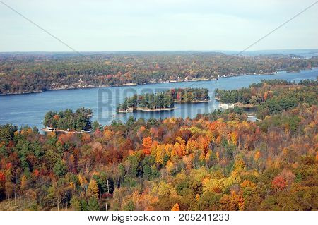 Aerian view of Thousand Islands in fall, from Sky deck on Hill Island, on the border of Ontario in Canada and New York State in USA.