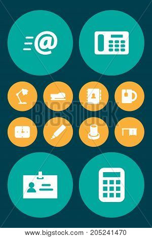Collection Of Message, Desktop, Cup And Other Elements.  Set Of 12 Bureau Icons Set.