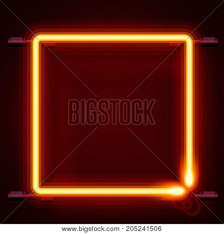 Neon frame sign in the shape of a square. template design element, Vector illustration
