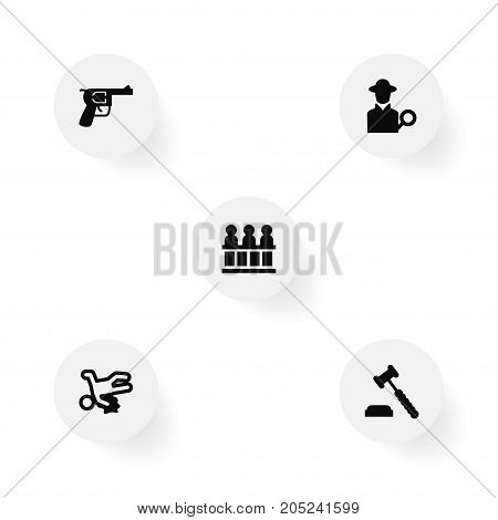 Collection Of Inspector, Judge Gavel, Revolver And Other Elements.  Set Of 5 Criminal Icons Set.