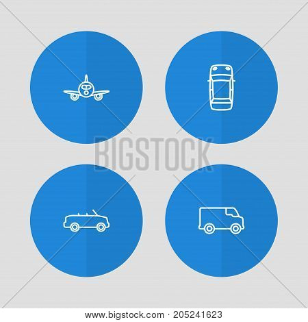 Collection Of Cabriolet, Top, Airplane And Other Elements.  Set Of 4 Transport Outline Icons Set.