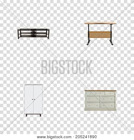 Realistic Cupboard, Furniture, Worktop And Other Vector Elements