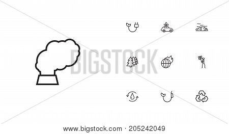 Collection Of Recycling, Global Warming, Pollution And Other Elements.  Set Of 10 Bio Outline Icons Set.