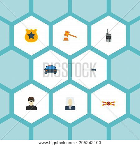 Flat Icons Thief, Walkie-Talkie, Officer Emblem And Other Vector Elements
