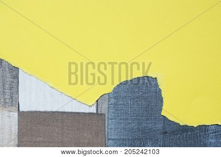 Piece of blank yellow paper for text on color wooden background
