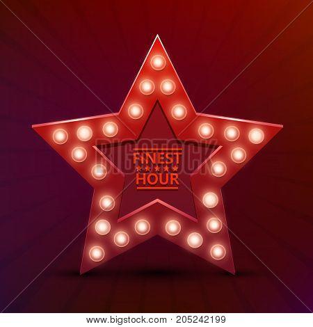 Retro light sign star finest hour. Vintage style banner. Vector illustration.