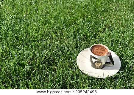 coffee grounds on the bottom of the mug. a cup on the grass. green meadow and white tableware. fortune telling. monkey cup, monkey background, funny and cute cup. coffee foam. green background