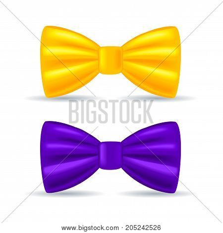 Vector illustration, realistic drawing, solemn bow tie yellow and purple, isolated on white background