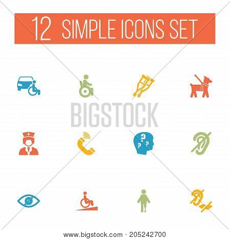 Collection Of Brain With Question, Ramp, Disabled Vehicle And Other Elements.  Set Of 12 Disabled Icons Set.